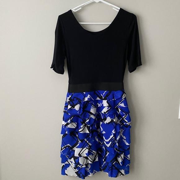 Express Blue/Black/White Form Fitting Mini Dress